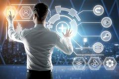 Tecnologia, futuro e concetto di contabilità Fotografie Stock Libere da Diritti