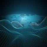 Tecnologia global futurista, trabalhos em rede e conceito de projeto de Cloud Computing com globo da terra e 3D Mesh Pattern ondu ilustração do vetor