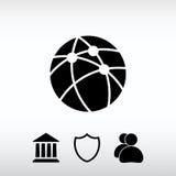 Tecnologia global ou ícone social da rede, ilustração do vetor Foto de Stock Royalty Free