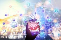 Tecnologia globale di concetto del fondo di affari della rete della città astratta del collegamento centrale Fotografia Stock