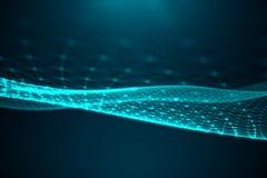 Tecnologia grande de transferência do sumário Paisagem de Digitas com conexão global, os baixos pontos polis e as linhas da conex ilustração do vetor