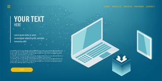 Tecnologia isométrica da conexão de dados Imagem de Stock