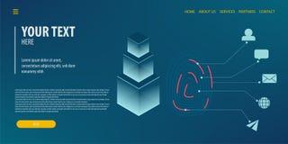 Tecnologia isométrica da conexão de dados Fotografia de Stock Royalty Free