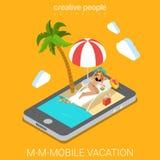 Tecnologia isometrica piana 3d di app di vacanza mobile della stazione balneare Fotografia Stock Libera da Diritti