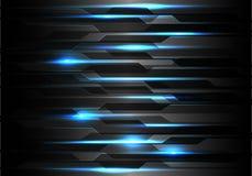 Tecnologia leggera blu dell'estratto sul vettore futuristico moderno del fondo del poligono di progettazione nera del modello immagine stock libera da diritti