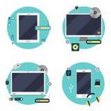 Tecnologia moderna: Computer portatile, computer, compressa e Smartphone illustrazione vettoriale