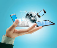 Tecnologia nas mãos imagem de stock royalty free