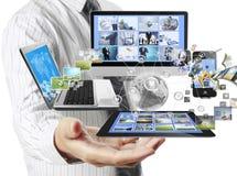 Tecnologia nas mãos fotografia de stock