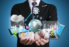 Tecnologia nas mãos imagens de stock