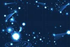 A tecnologia, partículas da ciência que incandescem com curvas swoosh as linhas D ilustração royalty free