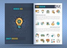 Tecnologia piana delle icone di affari del modello di progettazione dell'opuscolo Immagini Stock Libere da Diritti