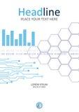 Tecnologia, projeto da tampa do Internet com gráfico, linhas e pilhas Fotos de Stock