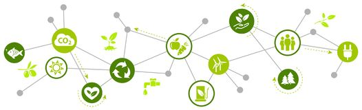 Tecnologia rispettosa dell'ambiente/illustrazione ambientale di sfide illustrazione vettoriale
