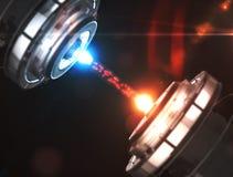 Tecnologia scientifica del laser di futuro dalle particelle illustrazione 3D Fotografie Stock