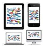 Tecnologia social em Apple ilustração royalty free