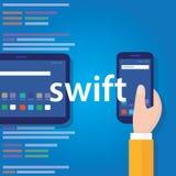 Tecnologia software di codifica di linguaggio di programmazione di applicazione mobile rapida Fotografie Stock