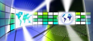 Tecnologia video da parede do mundo Imagens de Stock Royalty Free