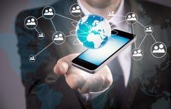 Tecnologia wireless moderna e media sociali Fotografie Stock Libere da Diritti