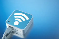 Tecnologia wireless Wi-Fi Internet sul canale radiofonico Immagine Stock