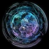 Tecnologias do Internet da rede global Mapa do mundo de Digitas fotografia de stock