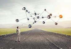 Tecnologias que conectam o mundo Meios mistos Fotografia de Stock Royalty Free
