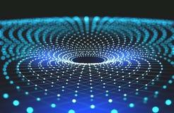 Tecnologie del futuro Imbuto di informazioni Rete globale Griglia leggera poligonale illustrazione di stock