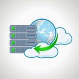 Tecnologie della nuvola Server dell'icona del computer Progettazione Immagini Stock