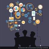 Tecnologie delle comunicazioni di affari di vettore universalmente con il grafico Immagini Stock Libere da Diritti