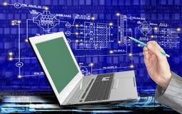 Tecnologie di Internet del computer di ingegneria Fotografia Stock Libera da Diritti