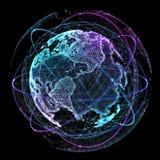 Tecnologie di Internet della rete globale Mappa di mondo di Digital illustrazione 3D Illustrazione di Stock