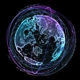 Tecnologie di Internet della rete globale Mappa di mondo di Digital illustrazione 3D Illustrazione Vettoriale