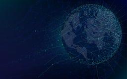 Tecnologie futuristiche di fantascienza, rete globale con la mappa di mondo, fondo astratto dello spazio infinito di vettore royalty illustrazione gratis