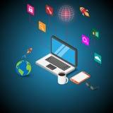 tecnologie informatiche 3d, comunicazioni, progettazione piana Immagini Stock Libere da Diritti