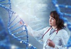 Tecnologie innovarici nella scienza e nella medicina elementi dell'illustrazione 3D in collage Fotografie Stock Libere da Diritti
