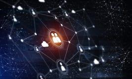 Tecnologie wireless moderne come mezzi di communucation e di rete su fondo scuro Fotografie Stock Libere da Diritti