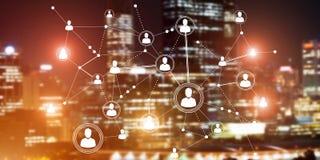 Tecnologie wireless moderne come mezzi di communucation e di rete su fondo scuro Immagine Stock