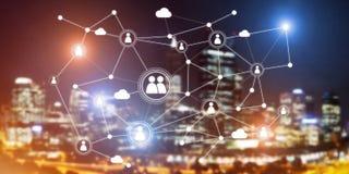 Tecnologie wireless moderne come mezzi di communucation e di rete su fondo scuro Fotografia Stock Libera da Diritti