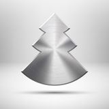 Tecnology与金属纹理的圣诞树图标 免版税库存图片
