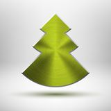 Tecnology Christmas tree icon with metal texture Royalty Free Stock Photos