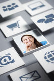 Tecnology opportunity. Portrait of beautiful girl with tecnology icons Stock Photography