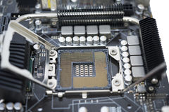 Tecnology socket LGA 1366 for cpu on motherboard computer with c. Hip set Royalty Free Stock Images