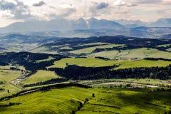 Tectonic foreland of Tatra mountains range. Epic view on Tatra mountains range Stock Photo