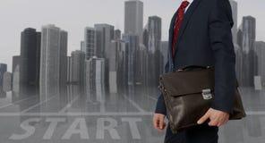teczki biznesmena inwestora radosny portfolio Biznesmen z teczką Fotografia Royalty Free
