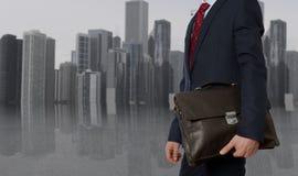 teczki biznesmena inwestora radosny portfolio Biznesmen z teczką Zdjęcie Royalty Free