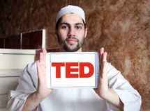 TED conference logo. Logo of TED conference on samsung tablet holded by arab muslim man. TED Technology, Entertainment, Design is a media organization which Royalty Free Stock Photo