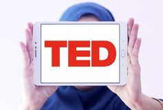 TED conference logo. Logo of TED conference on samsung tablet holded by arab muslim woman. TED Technology, Entertainment, Design is a media organization which Royalty Free Stock Image