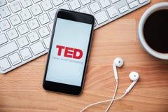 TED coroczna konferencja technologii rozrywki projekta wisząca ozdoba app Fotografia Royalty Free