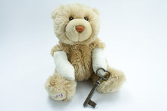 Ted injured. An injured teddy. His arms are burned or broken Royalty Free Stock Photography