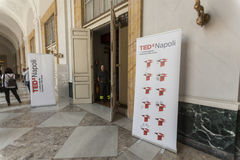 TED X NAPOLI conceptual design conference. TEDx is a program of local, self-organized events that bring people together to share a TED-like experience. Our event Stock Photo