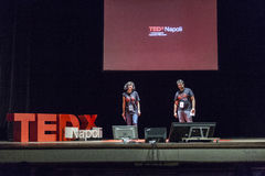 TED X NAPOLI conceptual design conference. TEDx is a program of local, self-organized events that bring people together to share a TED-like experience. Our event Royalty Free Stock Photo